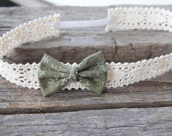 Green bow headband; Lace headband