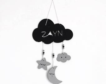 Wooden mobile cloud & personalized pendants dyed