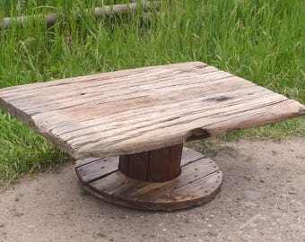 Rustic Farmhouse Wooden Spool Coffee Table - Free Shipping!
