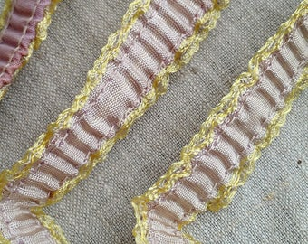 RARE 1920s Flapper Garter Ribbon, Gathered and Ruffled, in Lilac & Golden Yellow, Trim, Flapper, Lingerie, Costuming, Sewing, Fashion