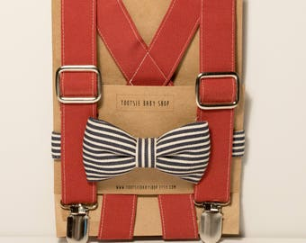 Red/White/Blue Striped bow tie and Suspender Set
