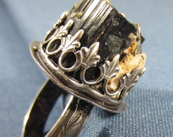 Jutting Out Ring - Black Tourmaline in Matrix in Sterling Silver Adjustable