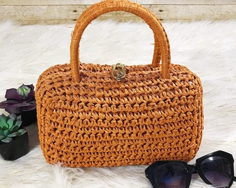 VINTAGE 1960s Barbara Lee Orange Straw Raffia Italian Retro Top Handle Box Mod Handbag Purse