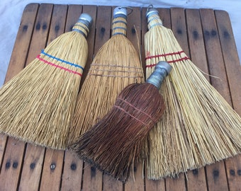 Vintage Retro lot of 4 Whisk brooms Handbrooms Straw broom one made in Hungary