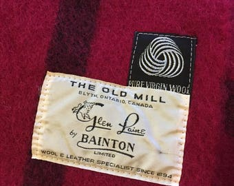The Old Mill Glen Laine by Bainton Limited Blyth, Ontario, Canada Wool BLANKET Burgundy Maroon Striped
