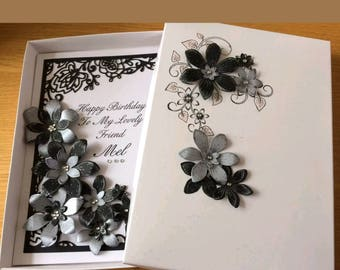 Luxury personalised Card with flowers, any occasion any colour.