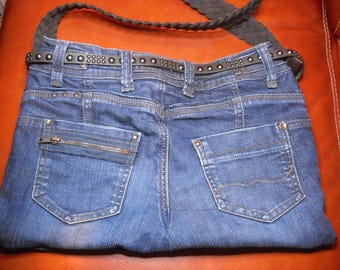 fully lined blue denim handbag
