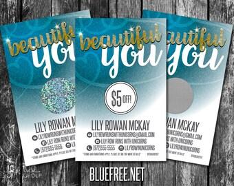 Beautiful You! Scratch to Win! Personalized Scratch Off Discount Cards! - SC60