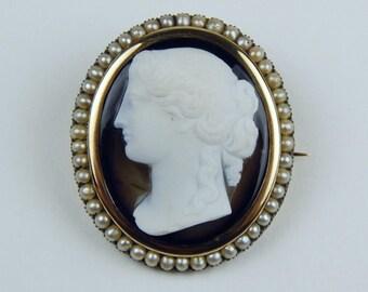 Victorian 14k Gold  sardonyx cameo seed pearl brooch pendant #10250