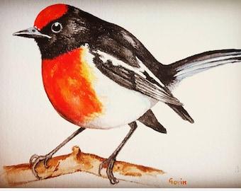 Original, watercolor painting, bird art, robin, handmade artwork, not print, wall décor, home décor, red, colourful, nature art