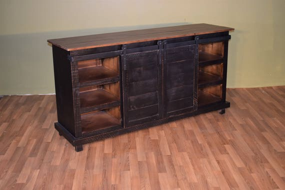 rustic style solid wood barn door black sliding door tv stand. Black Bedroom Furniture Sets. Home Design Ideas