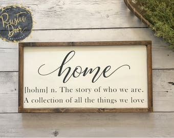 Home - The Story of Who We Are | Fixer Upper Inspired Wood Sign | Handmade Wooden Sign