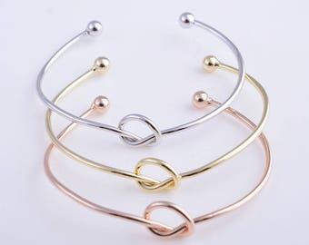 Wholesale 50pcs Gold/rose gold/silver knot bracelet, bridesmaid bracelet, tie the knot bracelet, love knot bracelet, knot bangle bracelet