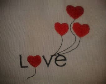 MACHINE embroidery LOVE heart (made to order)