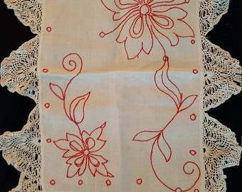 Beautiful Vintage Pillow Overlay or Scarf with wonderful border of embroidry