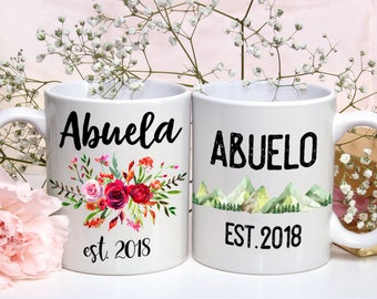 Abuela and Abuelo Mug Set, Abuela  Abuelo Grandparents mug, Pregnancy Reveal Mug, Baby Announcement, New Grandparents, Gift for Grandparents