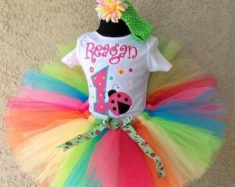 Ladybug Rainbow tutu set custom made