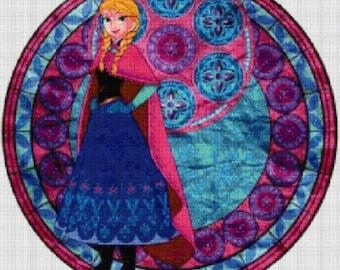 Frozen Anna cross stitch digital pattern medallion stained glass kingdom hearts