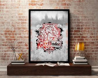 Gryffindor,House, Print, Poster, Fan Art, Harry Potter, Crest, Hogwarts, Lion,Birthday, Ravenclaw, Hufflepuff, Slytherin,