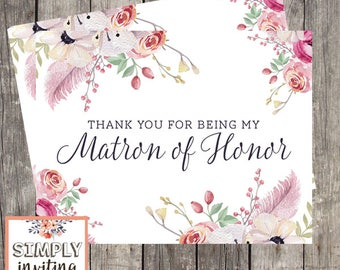 Matron of Honor Bridal Party Thank You Card, Printed Note Card, Thank You for Being in My Wedding, Floral Watercolor, Wedding Thank You