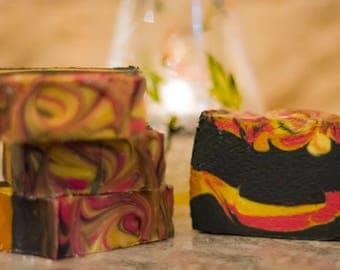 Campfire soap, smokey soap, handmade soap, artisan soap, charcoal soap, seaweed soap, manly soap, fireplace soap, detox soap, bar soap