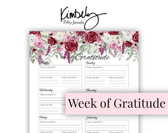 Printable Gratitude Inserts, Gratitude Journal, Planner Inserts, Printable Planner, Printable, Gratitude Log, Instant Download,  Printable