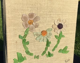 Authentic Sea Glass Flowers on Canvas