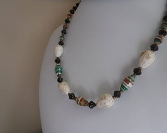 African Multistriped Paper and White Magnesite Necklace