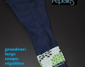 Scalable jeans size large regular cut, leaves