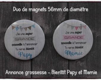 Duo of magnets / fridge magnets - pregnancy announcement: soon Grandma and Grandpa