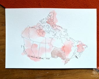 Canadian Map | CANADA 150 | Hand Painted Print