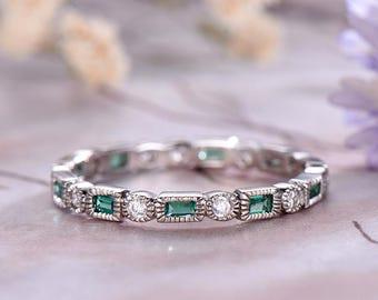 Diamond Baguette Emerald Wedding Band14k White GoldArt Deco MarquiseAnniversary