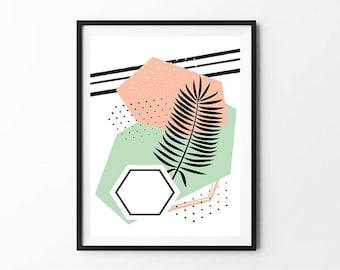 Geometric Print, Abstract Art, Modern Art Print, Wall Art Print, Geometric Decor, Triangle Print, Wall Print, Digital Download Art