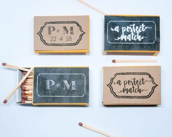 20 x perfect match wedding favours - blackboard or kraft personalised matchbox gifts