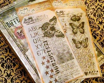 2 pk. Bundle by Tim Holtz Stampers Anonymous ~Butterfly Duo~ Coordinating Stamp/Stencil Set