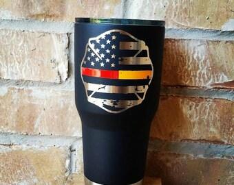 custom Firefighter tumbler, Firefighter, Thin Red Line Tumbler, firefighter gift, Firefighter gift for him, Firefighter Yeti, RTIC, OZARK