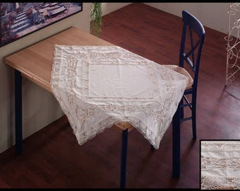 Embroidered 100% Cotton Square Tablecloth / Table Topper / Table Overlay with Cotton Lace Edging