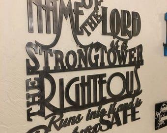 Metal scripture wall art, Proverbs 18:10