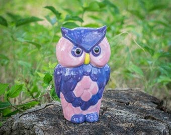 Pretty in Pink and Purple Garden Owl