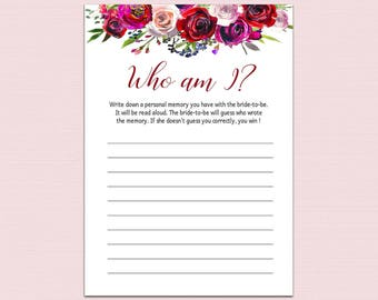 Who Am I Bridal Shower Game Printable, Red Floral Memory With the Bride Game, DIY Bachelorette Party Games, Watercolor Red Bridal Shower B10