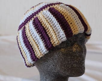 Crochet cap in Stripe look