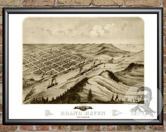 Grand Haven, Michigan Art Print From 1868 - Digitally Restored Old Grand Haven, MI Map - Perfect For Fans Of Michigan History