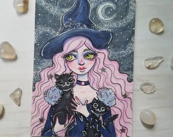 Pink Haired Witch with Black Cats ATC Print