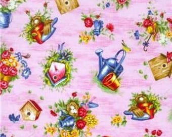 Cotton Fabric Quilting Bird Houses and Garden