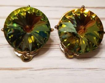 Vintage Large Julianna-Style, Green/Orange, Rhinestone Clip-On Earrings
