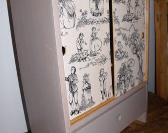 DOLL WITH WARDROBE AND DRAWER CABINET