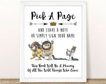 PRINTABLE Where the Wild Things Are Guest Book Sign, Baby Shower, Wild Thing Baby, Wild One Birthday Party, First Birthday, INSTANT DOWNLOAD