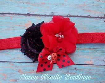 ladybug hair bow, ladybug headband, ladybug hair clip, ladybug hair accessories, lady bug hair bow, ladybug birthday, ladybug party, Ladybug