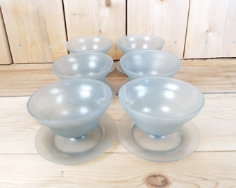 Vintage Tupperware Set of 6 Jello Pudding Cups Fruits Bowls Containers Party Dessert Made in USA Mod Retro Kitchen