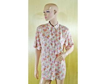Vintage Bogner women shirt blouse top flowers floral
